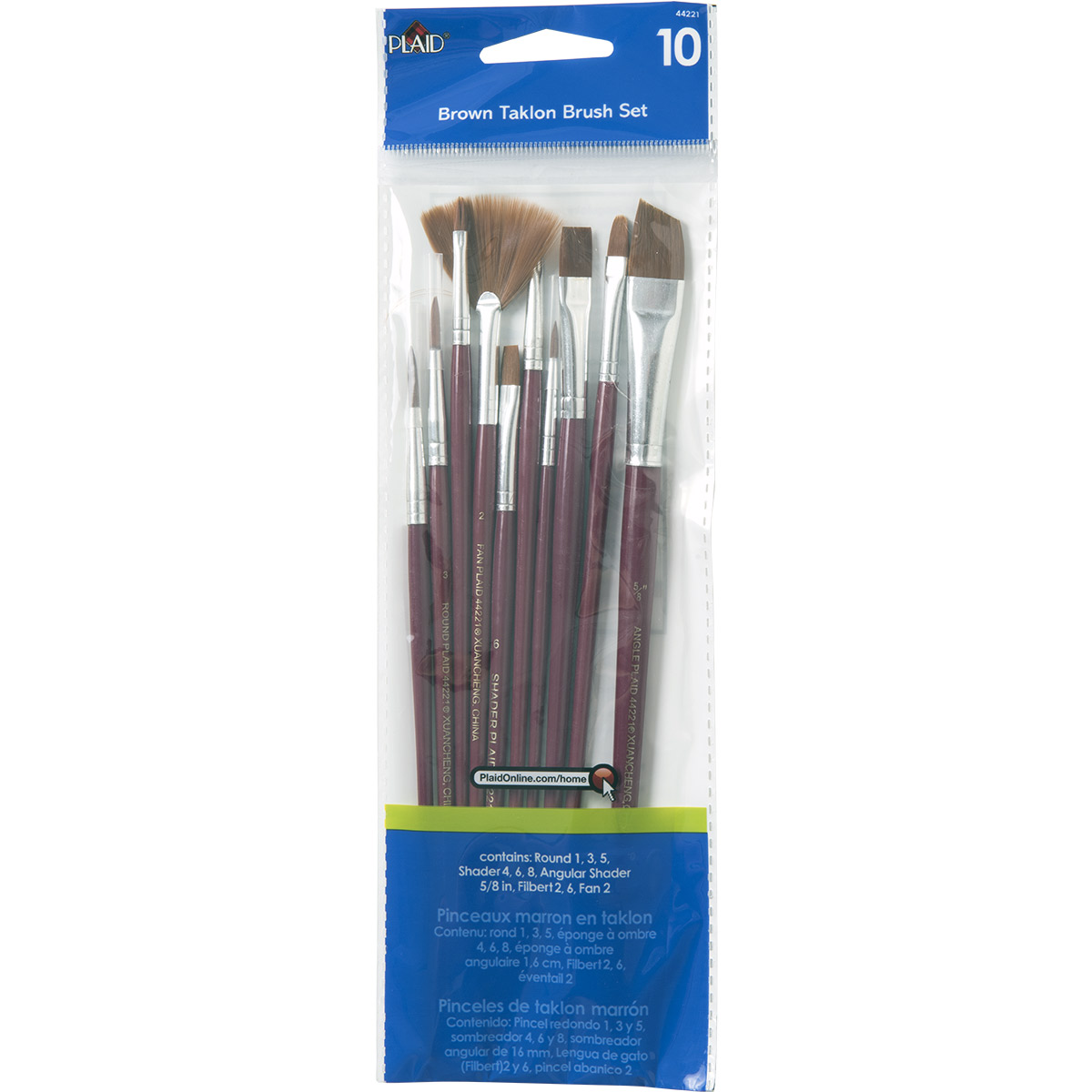 Plaid ® Brush Sets - Wood Brush Set, Brown Nylon - 44221