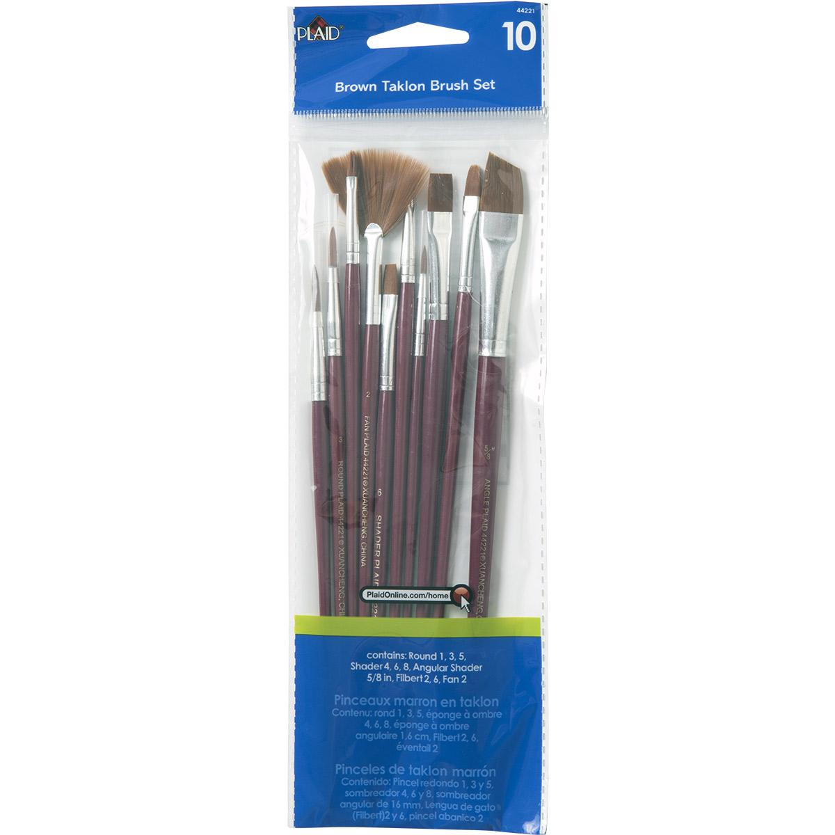 Plaid ® Brush Sets - Wood Brush Set, Brown Nylon