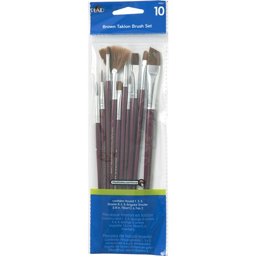 Plaid ® Brush Sets - Wood Brush Set, Brown Nylon