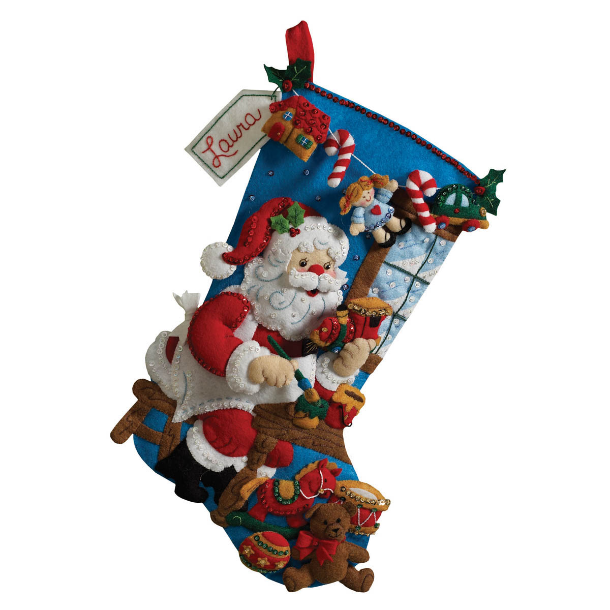 Bucilla ® Seasonal - Felt - Stocking Kits - Santa In the Workshop - 86165
