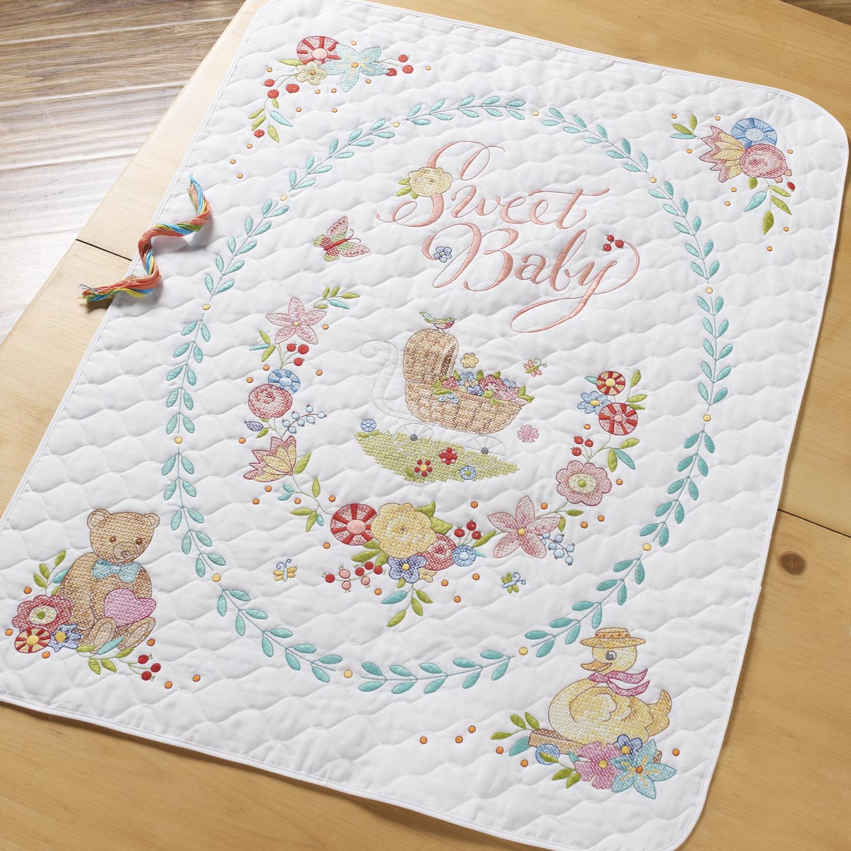 Bucilla ® Baby - Stamped Cross Stitch - Crib Ensembles - Sweet Baby - Crib Cover Kit - 47726