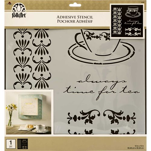FolkArt ® Painting Stencils - Adhesive Laser - Tea Time - 63265