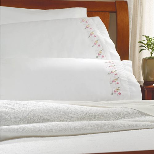 Bucilla ® Stamped Cross Stitch & Embroidery - Pillowcase Pairs - Pretty Posies