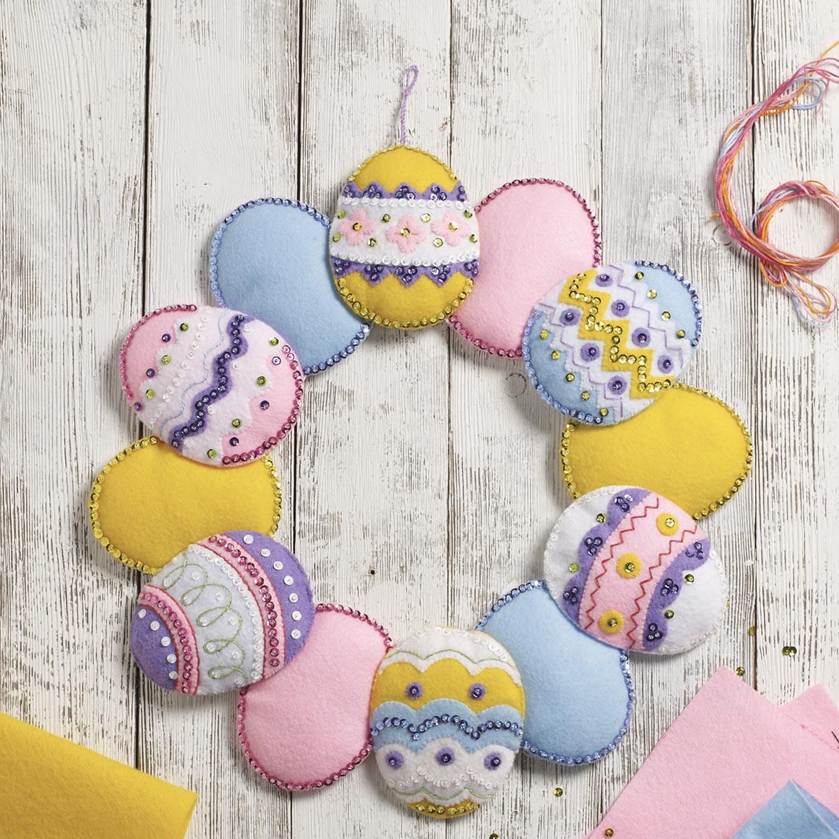 Bucilla ® Seasonal - Felt - Home Decor - Easter Eggs Wreath