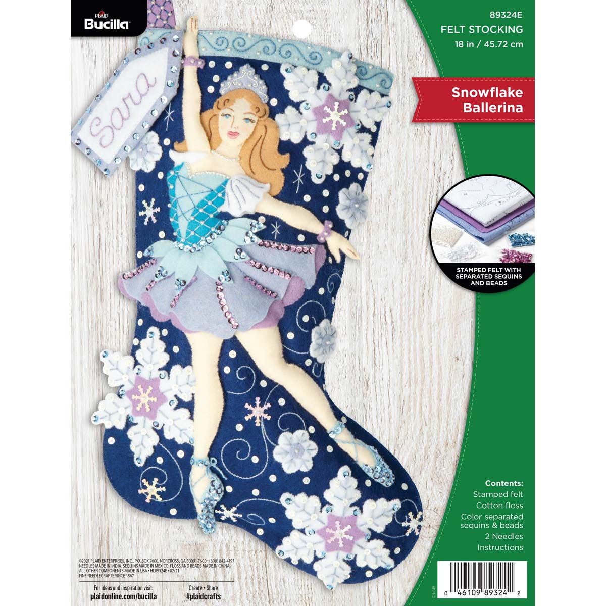 Bucilla ® Seasonal - Felt - Stocking Kits - Snowflake Ballerinia - 89324E