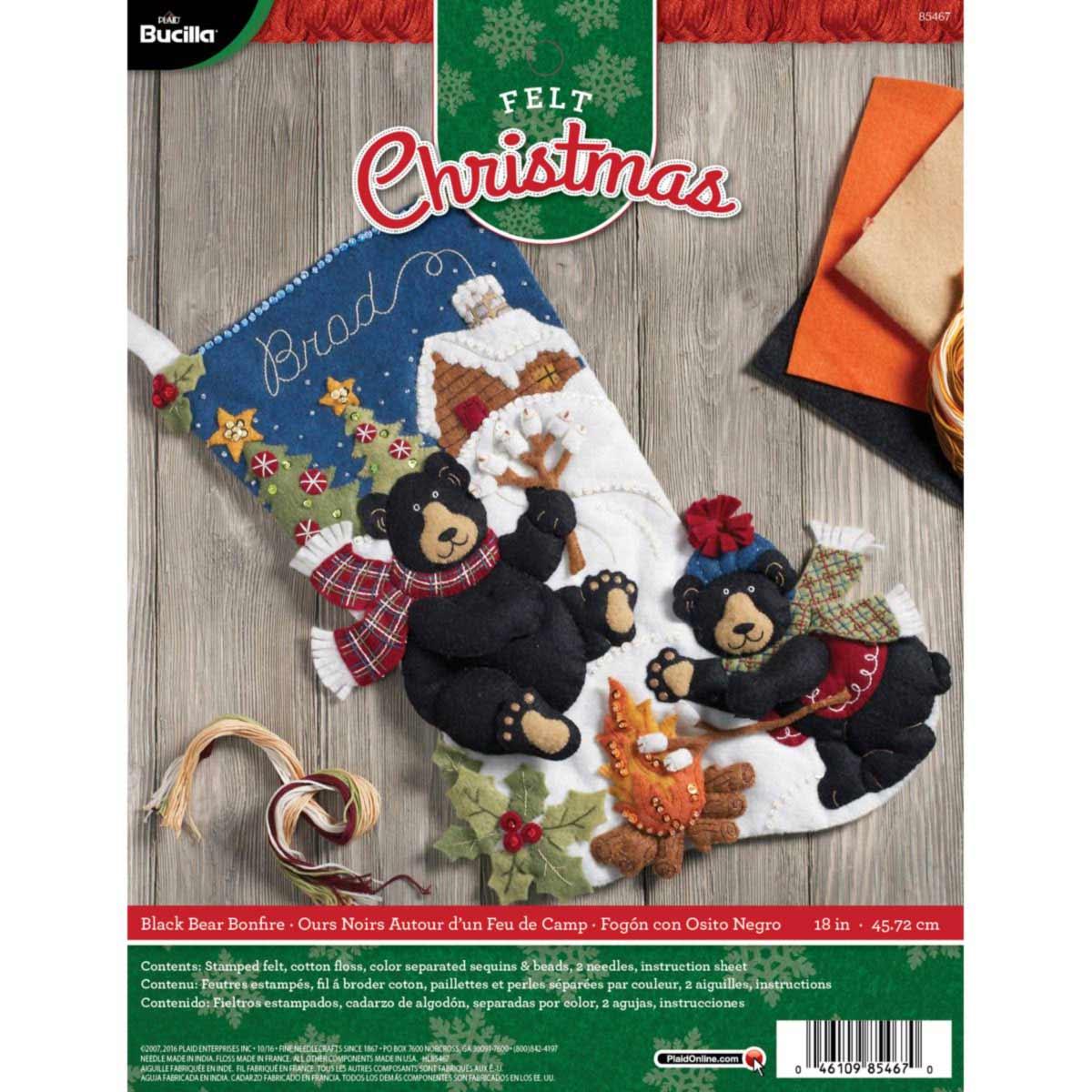 Bucilla ® Seasonal - Felt - Stocking Kits - Black Bear Bonfire
