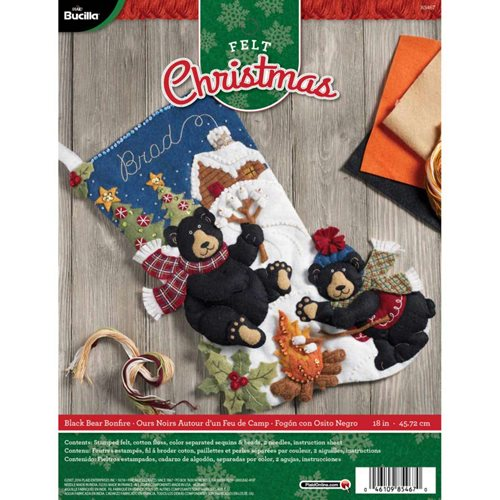 Bucilla ® Seasonal - Felt - Stocking Kits - Black Bear Bonfire - 85467