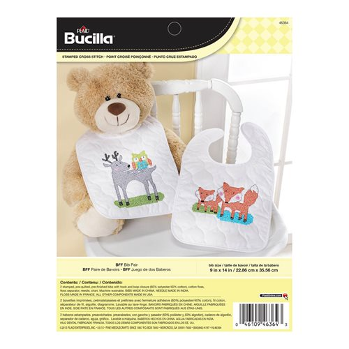 Bucilla ® Baby - Stamped Cross Stitch - Crib Ensembles - BFF - Bib Pair Kit