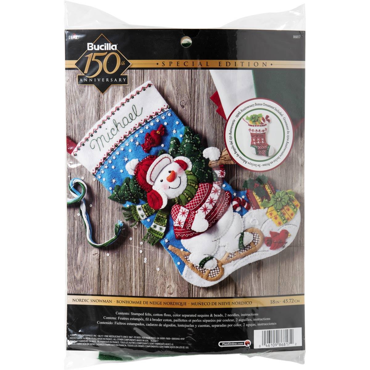 Bucilla ® Seasonal - Felt - Stocking Kits - Nordic Snowman - 86817
