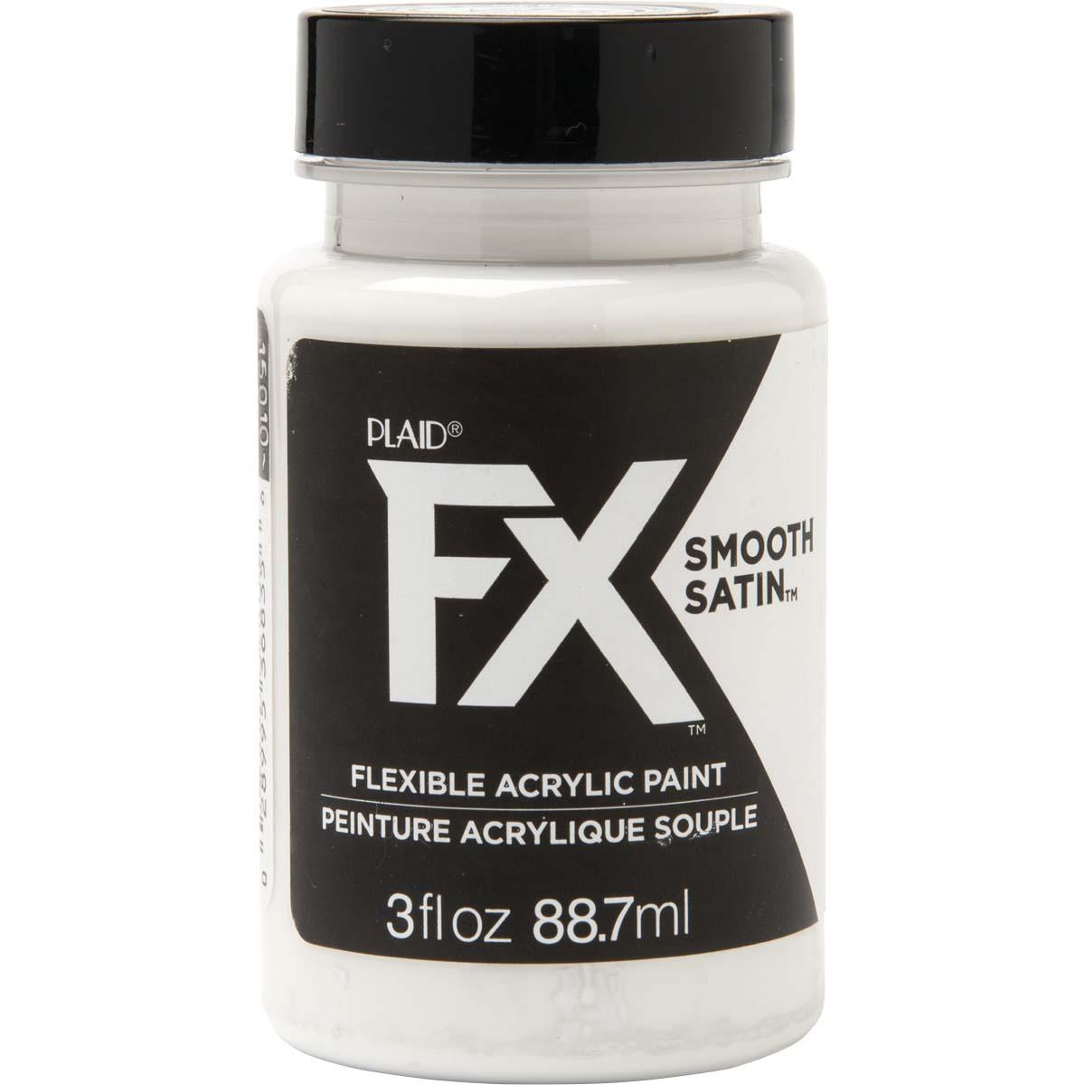 PlaidFX Smooth Satin Flexible Acrylic Paint - Blizzard, 3 oz. - 36835