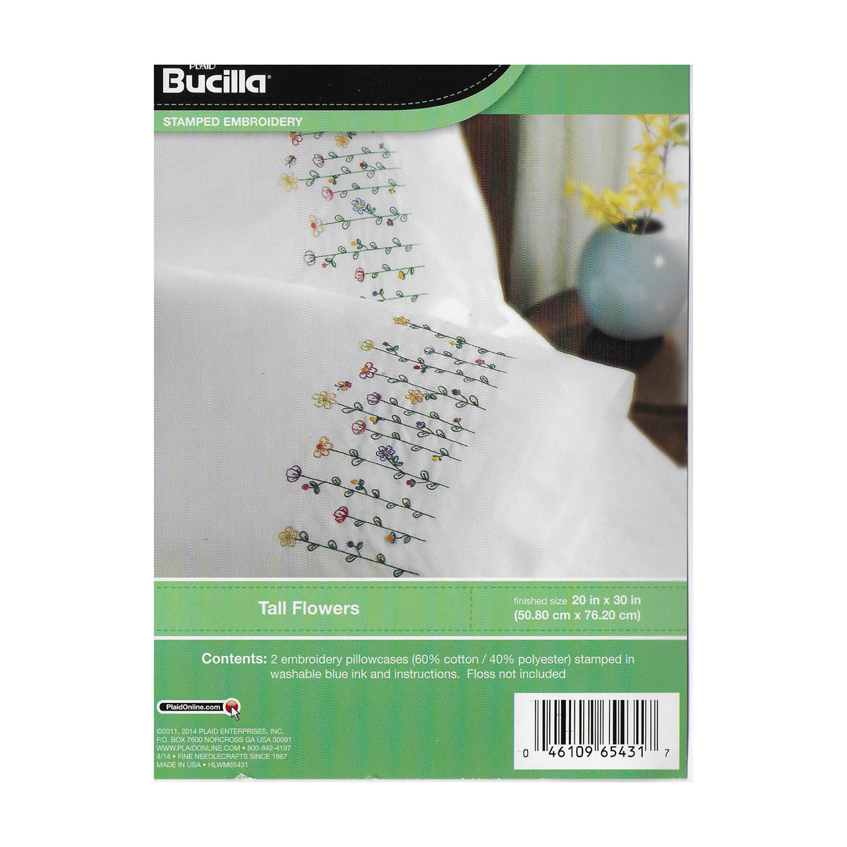 Bucilla ® Special Edition - Stamped Cross Stitch - Pillowcase Pairs - Tall Flowers - 65431