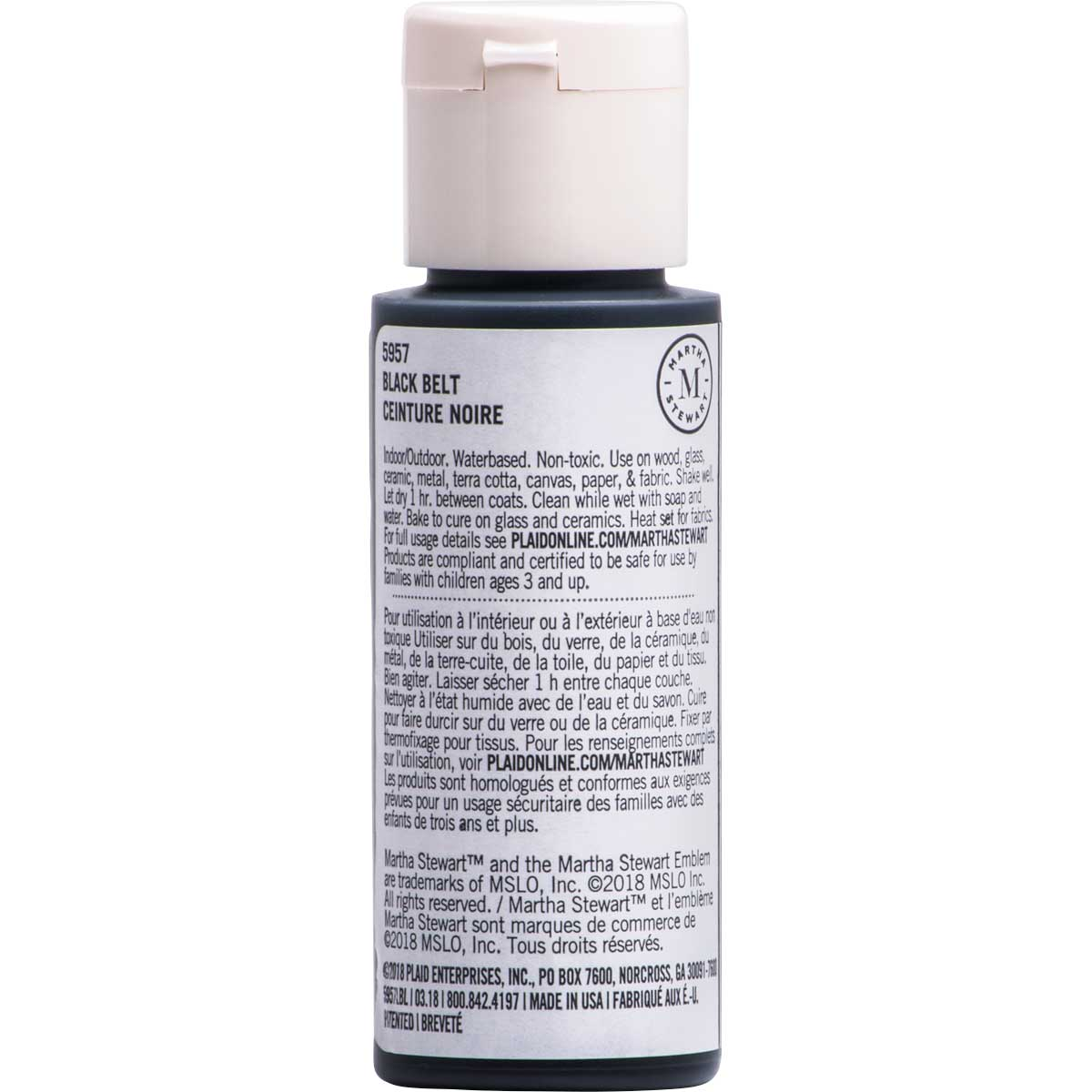 Martha Stewart ® Multi-Surface Satin Acrylic Craft Paint CPSIA - Black Belt, 2 oz. - 5957