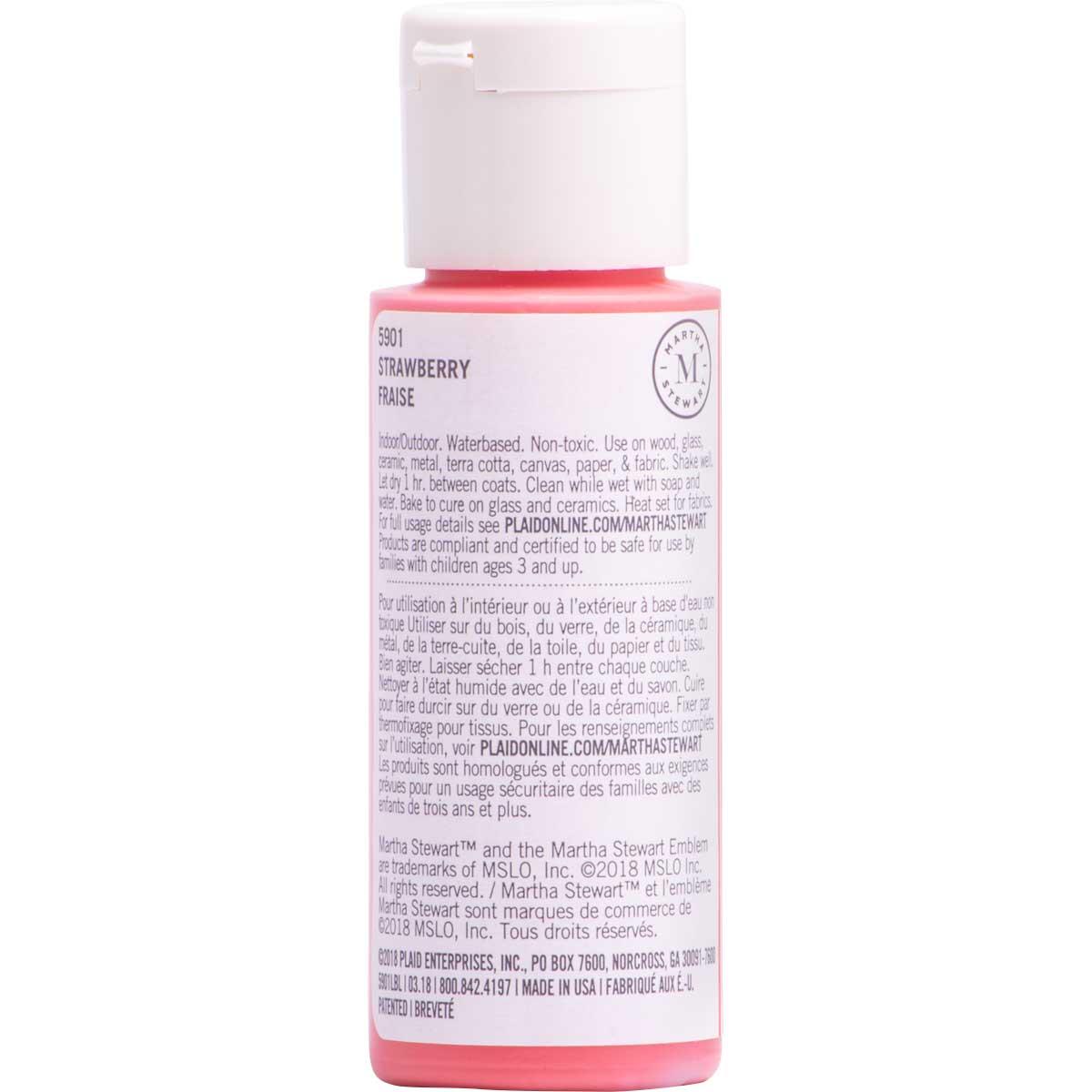 Martha Stewart ® Multi-Surface Satin Acrylic Craft Paint CPSIA - Strawberry, 2 oz.