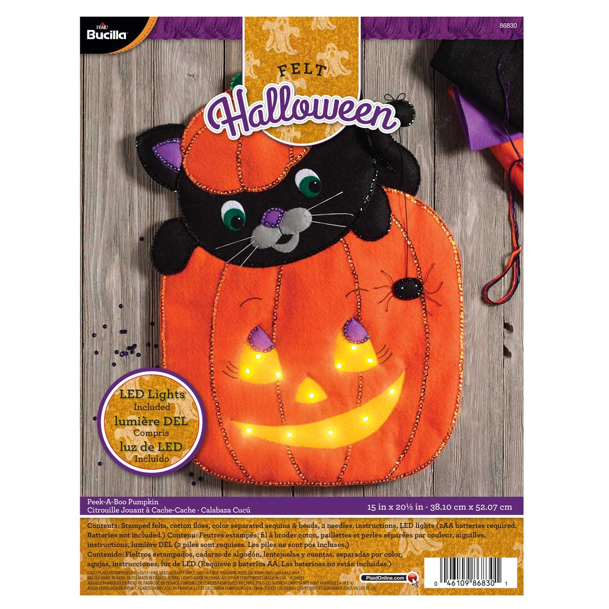 Bucilla ® Seasonal - Felt - Home Decor - Peek-A-Boo Pumpkin Wall Hanging with Lights - 86830