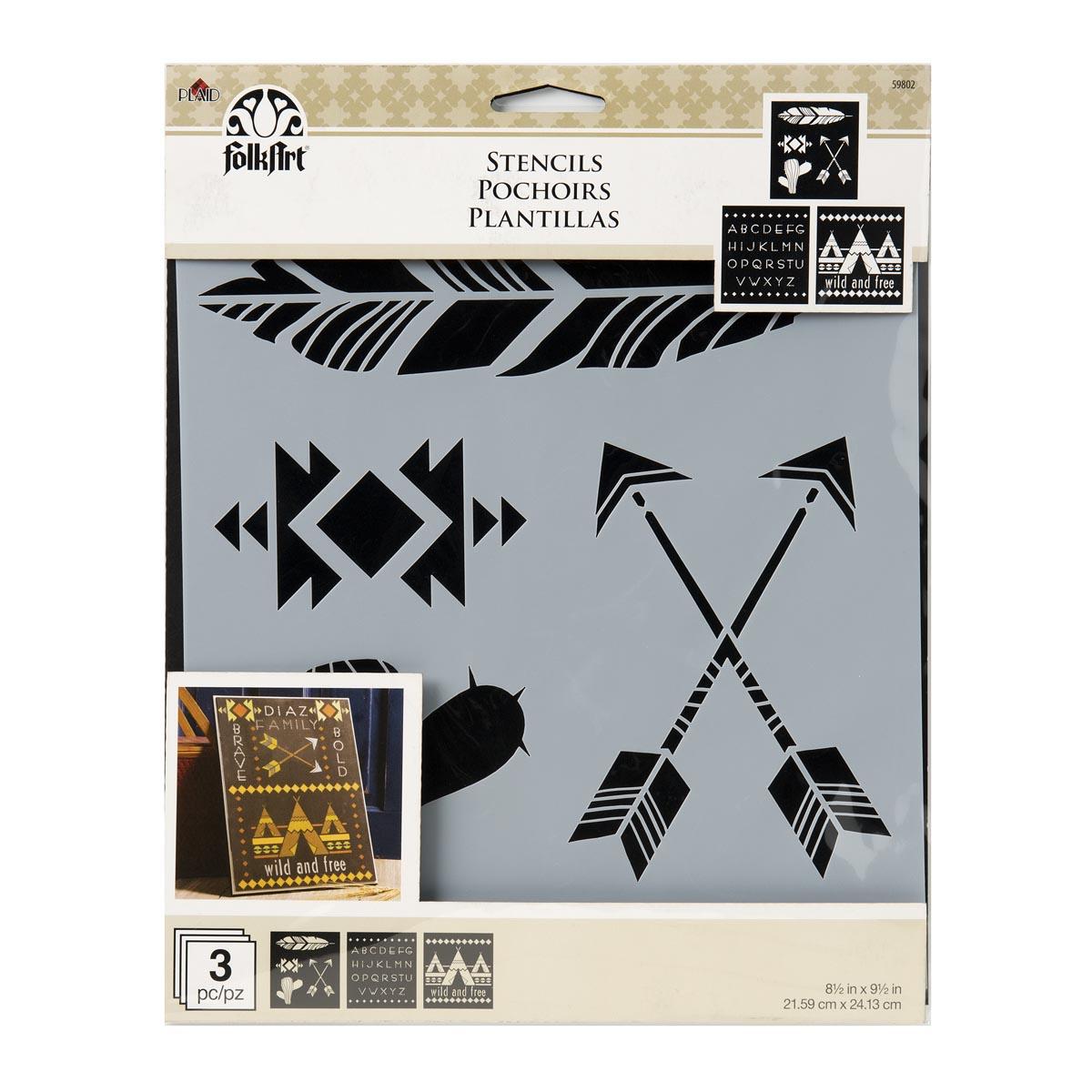 FolkArt ® Craft Stencils - Value Packs - Wild & Free - 59802