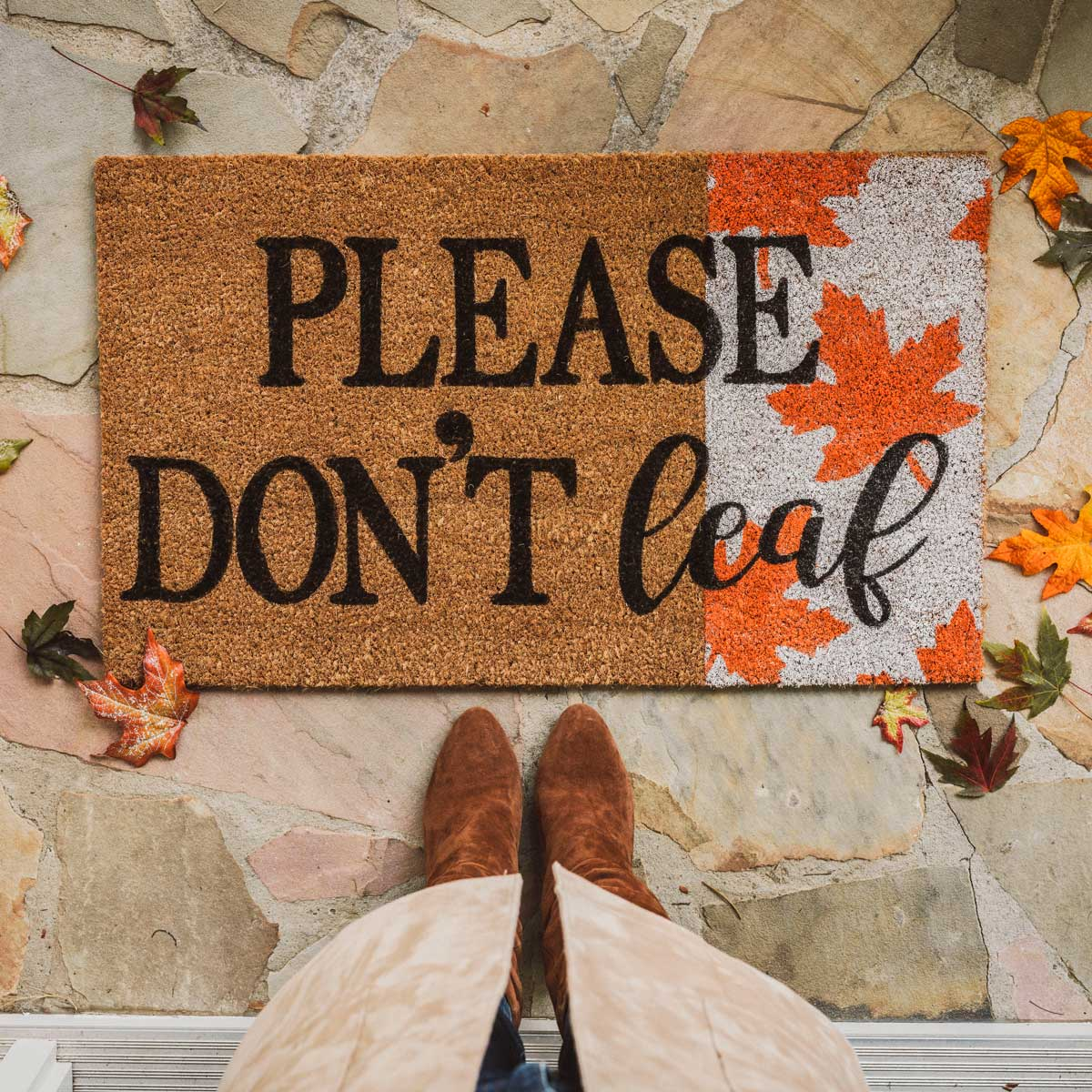 Please Don't Leaf Welcome Mat