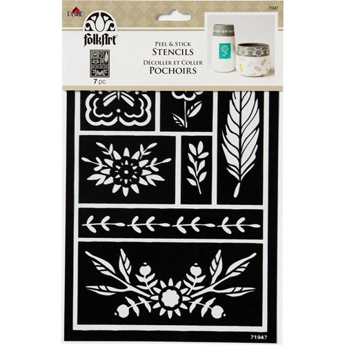 FolkArt ® Peel & Stick Painting Stencils - Feather - 71947
