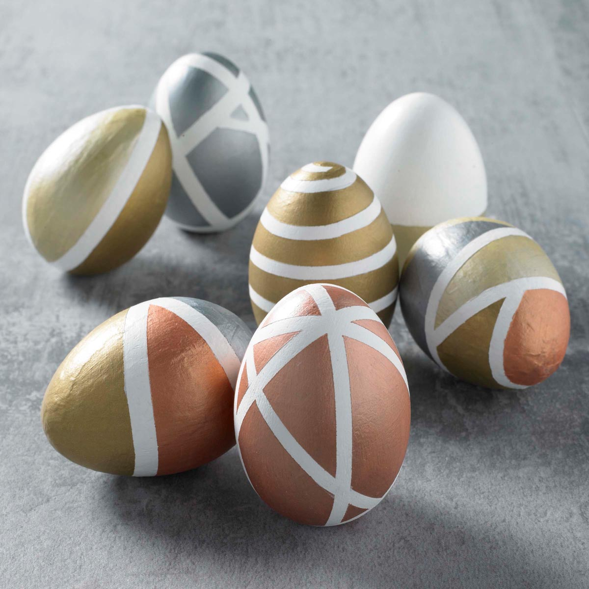 Brushed Metal Geometric Eggs