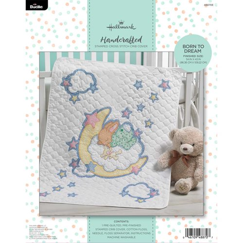 Bucilla ® Baby - Stamped Cross Stitch - Crib Ensembles - Hallmark - Born to Dream - Crib Cover