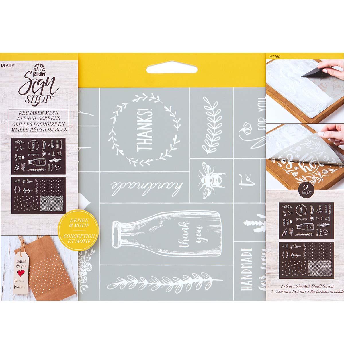 FolkArt ® Sign Shop™ Mesh Stencil - Tag Icons, 2 pc. - 63360