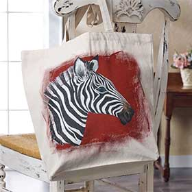 Hand Painted Zebra Tote Bag