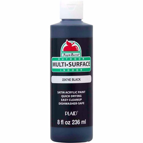 Apple Barrel ® Multi-Surface Satin Acrylic Paints - Black, 8 oz. - 22474E