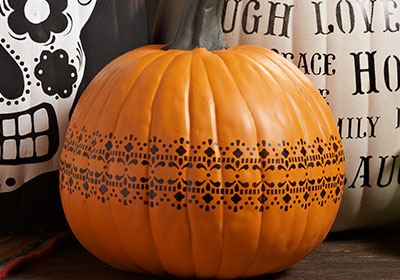Stenciled Lace Decorated Pumpkin