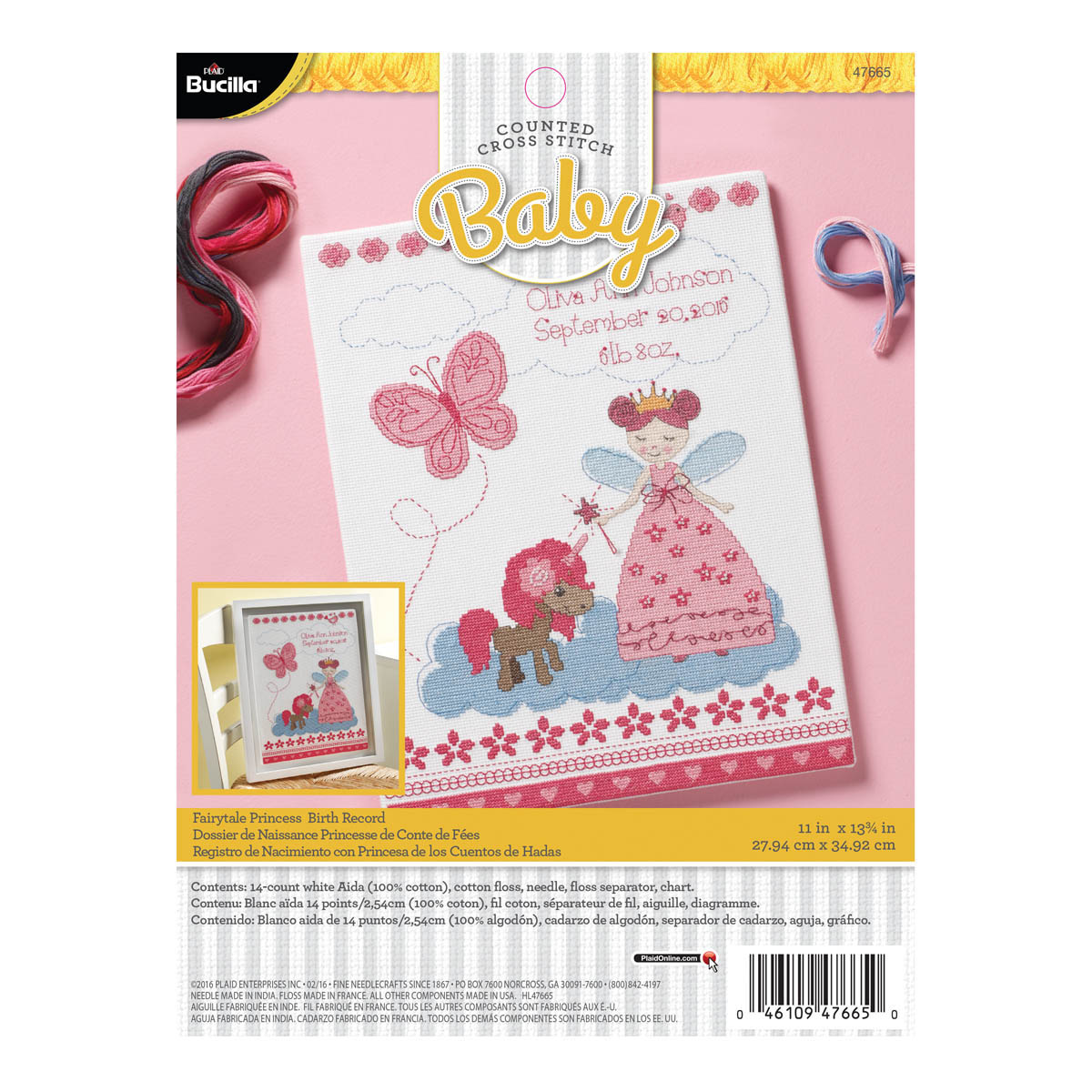 Bucilla ® Baby - Counted Cross Stitch - Crib Ensembles - Fairytale Princess - Birth Record Kit - 476