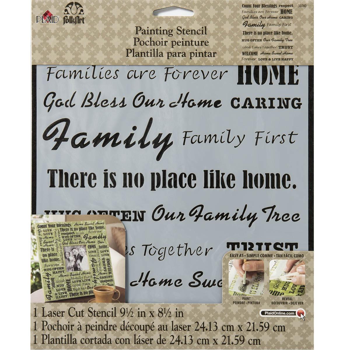 FolkArt ® Painting Stencils - Laser - Words/Phrases - Family - 30740