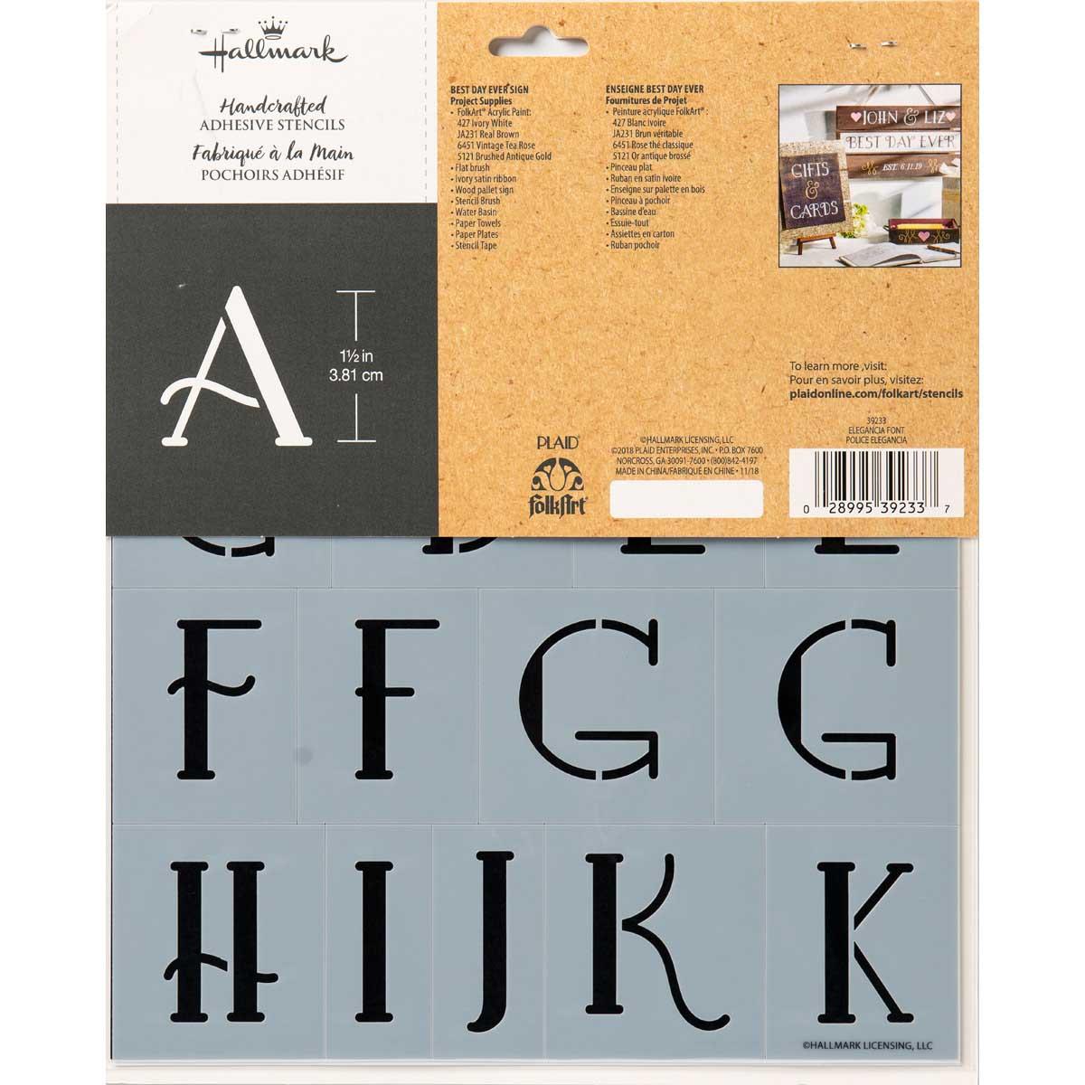Hallmark Handcrafted Adhesive Stencils - Elegancia Font, 8-1/2