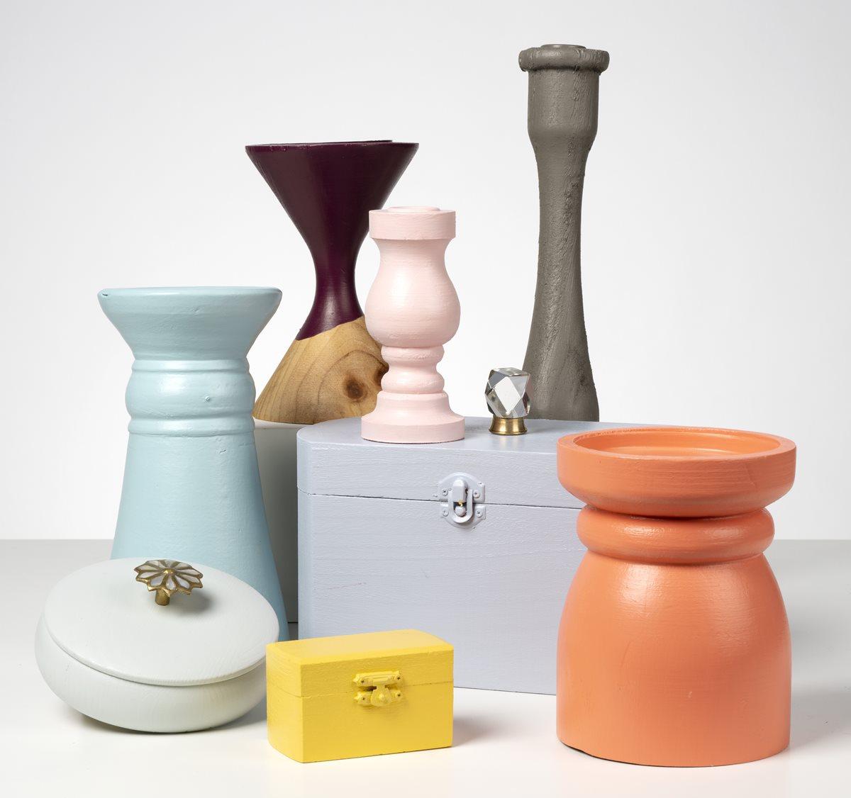 FolkArt One Decor Candlesticks and Trinket Boxes