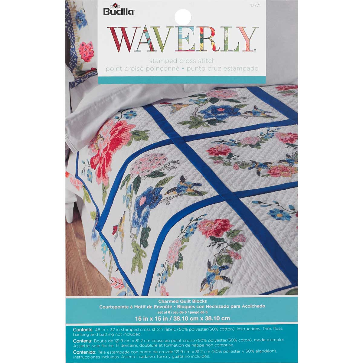 Bucilla ® Waverly ® Charmed Collection Stamped Quilt Blocks - 47771