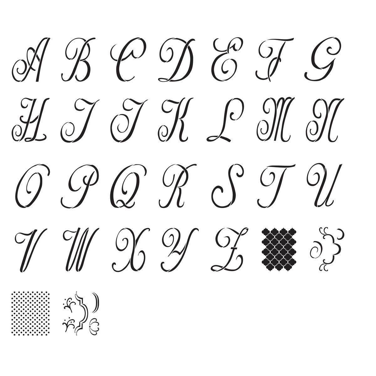 FolkArt ® Alphabet & Monogram Paper Stencils - Script Font, 8