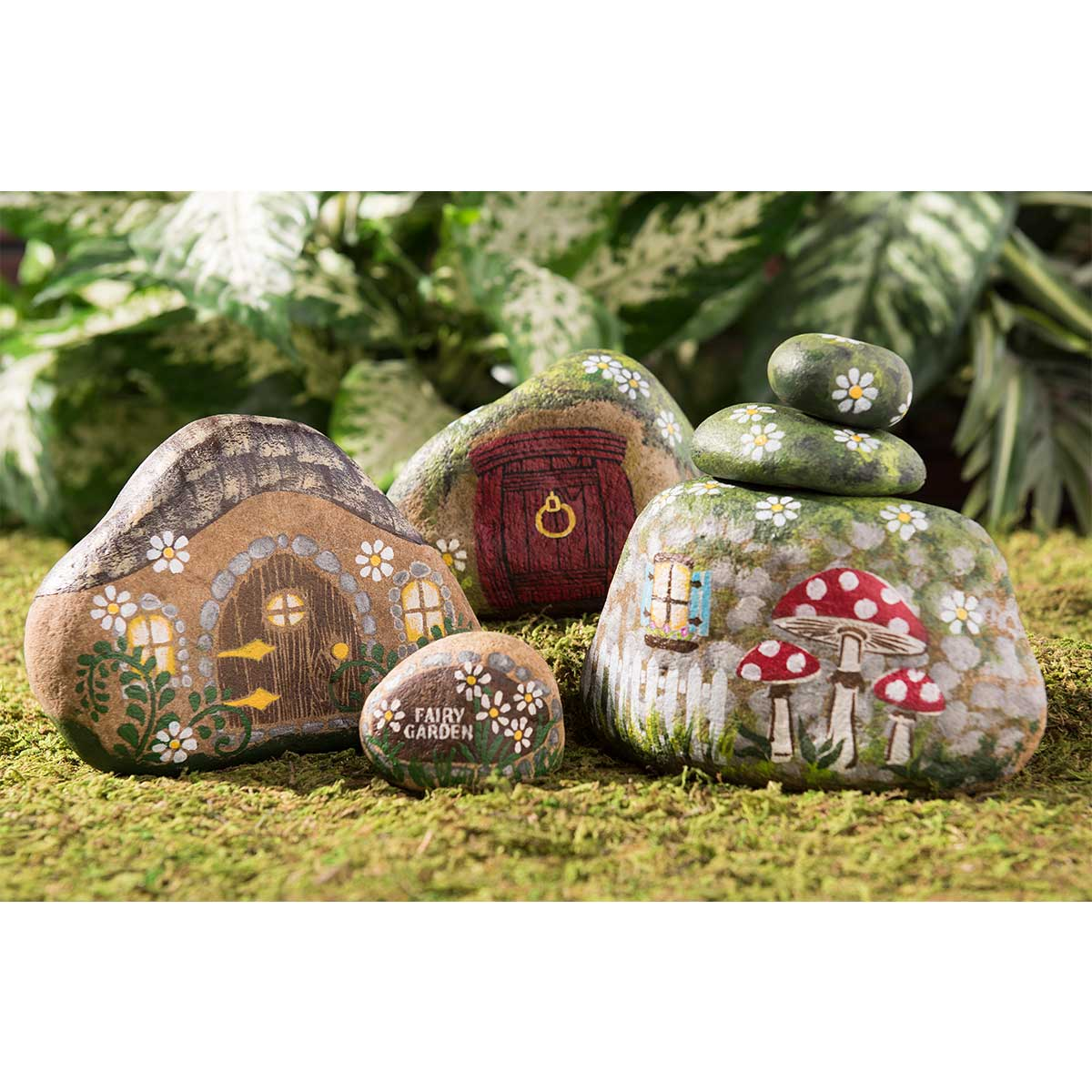 Painted River Rock Fairy Houses