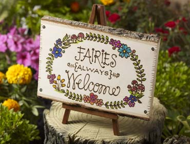 DIY Fairy Garden Accessories - Wood-Burned Sign