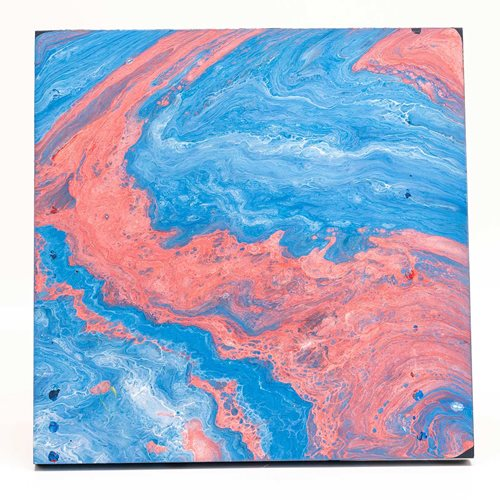Pink and Blue Poured Acrylic Artwork
