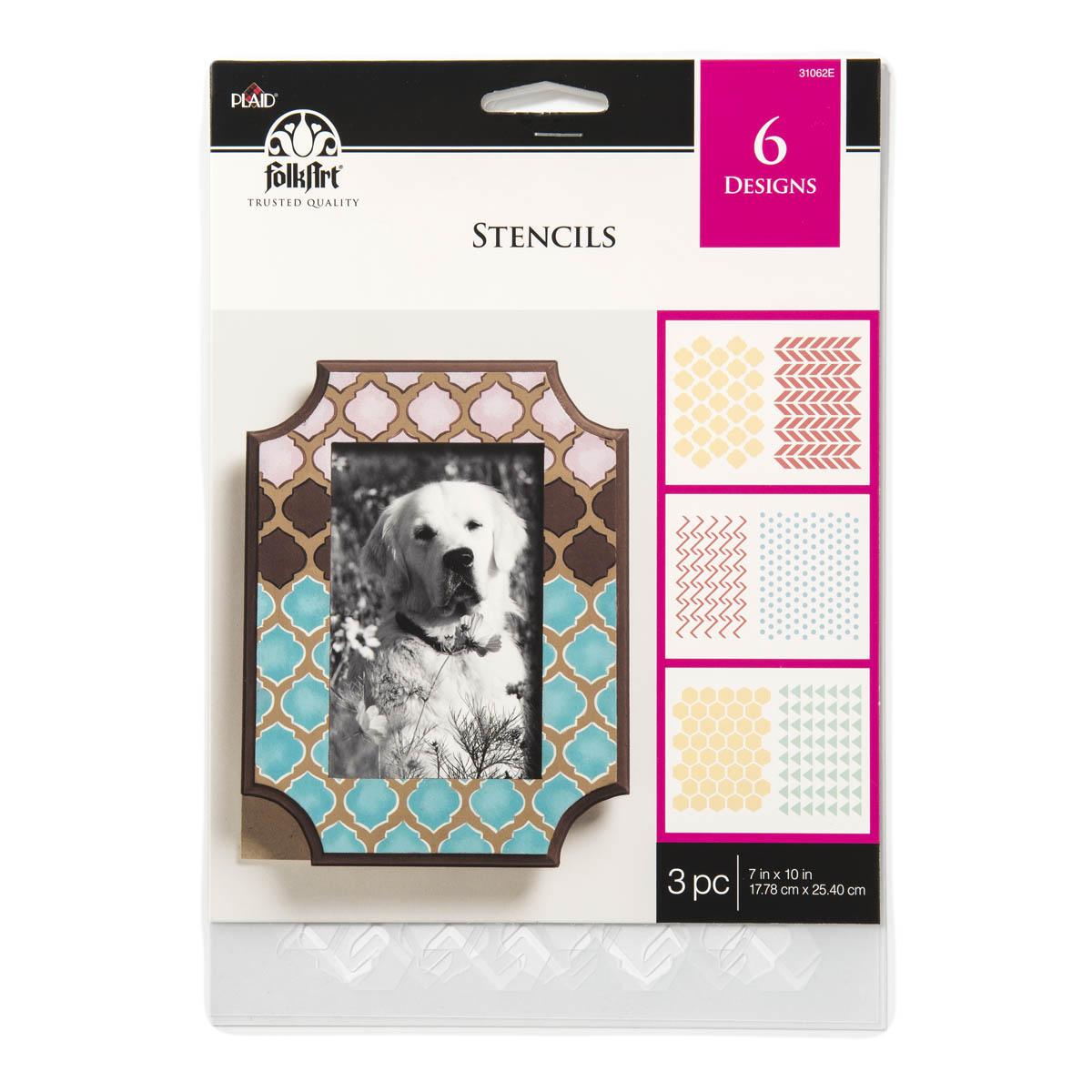 FolkArt ® Stencil Value Packs - Backgrounds, 7