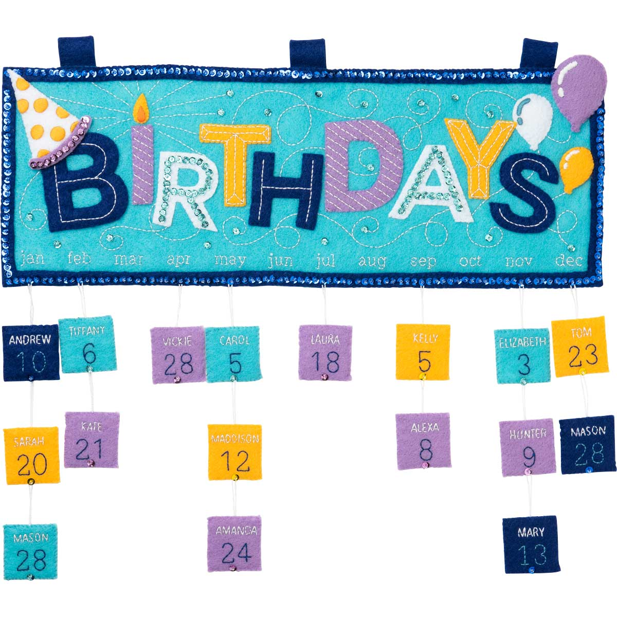 Bucilla ® Felt - Home Decor - Everyday Birthday Calendar Wall Hanging - 86963E