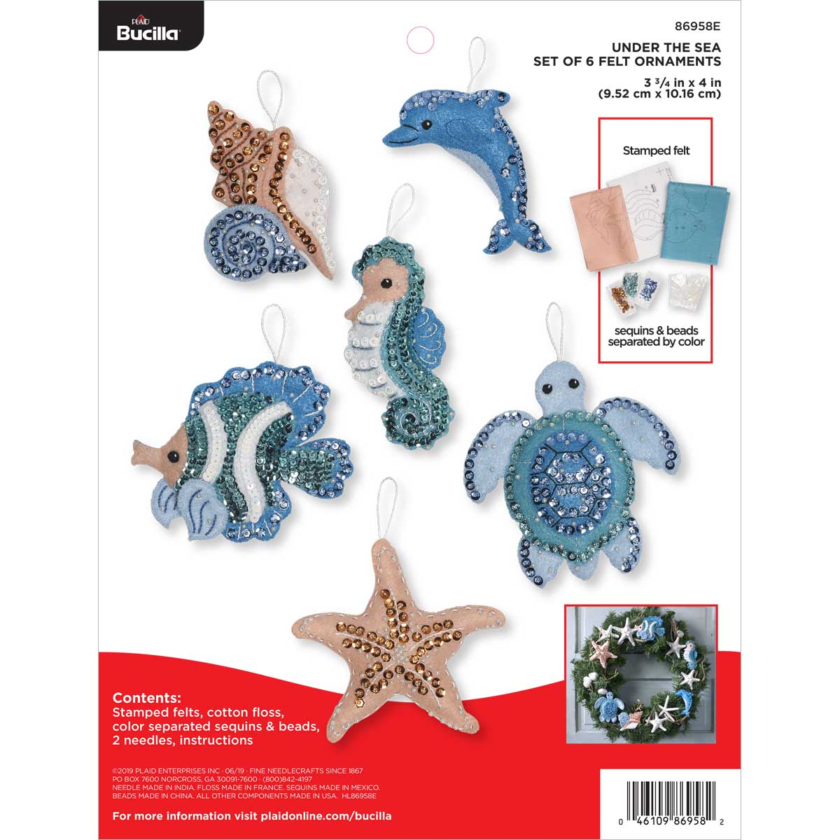 Bucilla ® Seasonal - Felt - Ornament Kits - Under the Sea - 86958E