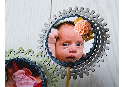 Baby Photo Flower Arrangement