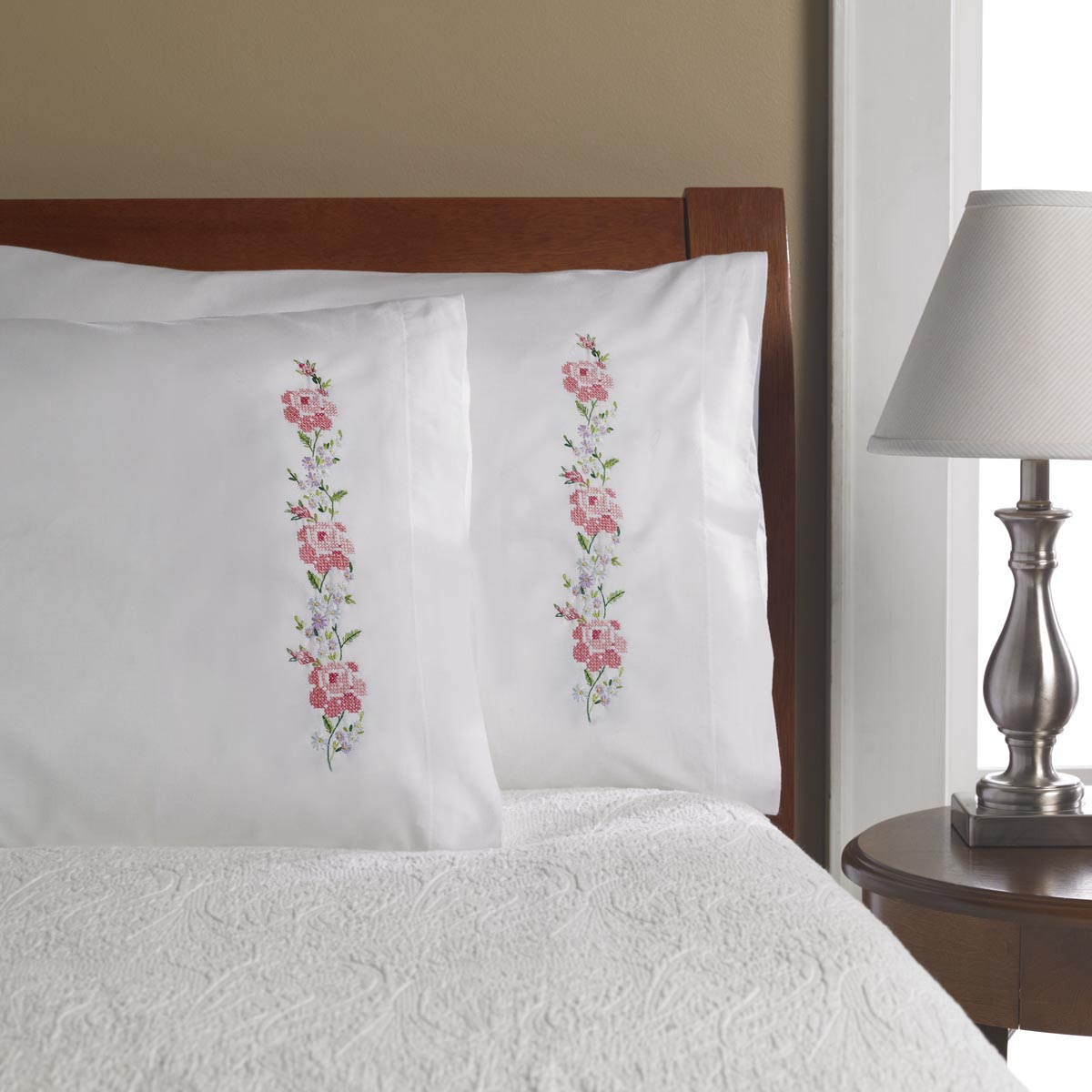 Bucilla ® Stamped Cross Stitch & Embroidery - Pillowcase Pairs - Sampler Roses