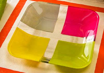 Color Blocked Glass Plate