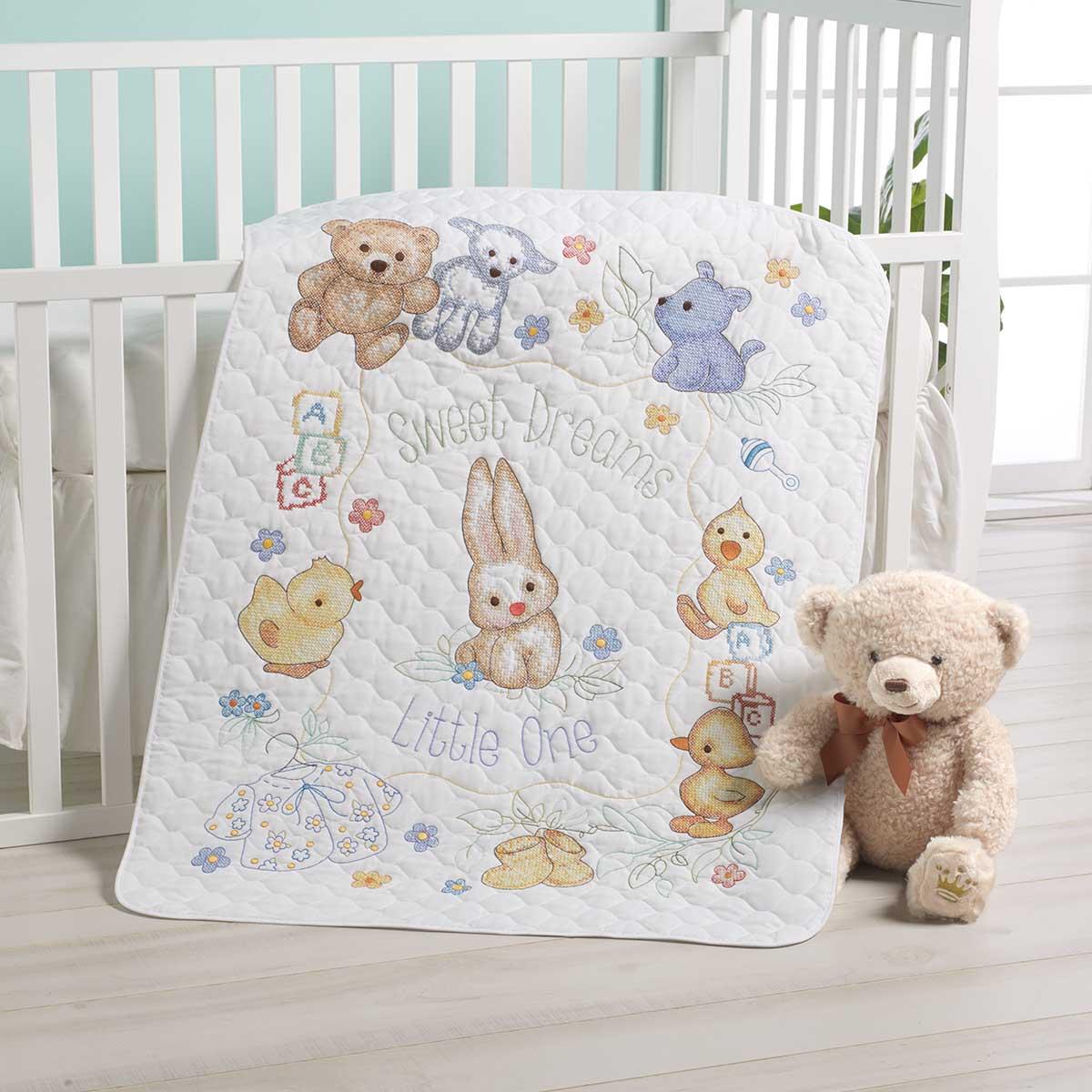 Bucilla ® Baby - Stamped Cross Stitch - Crib Ensembles - Hallmark - Playful Pals - Crib Cover