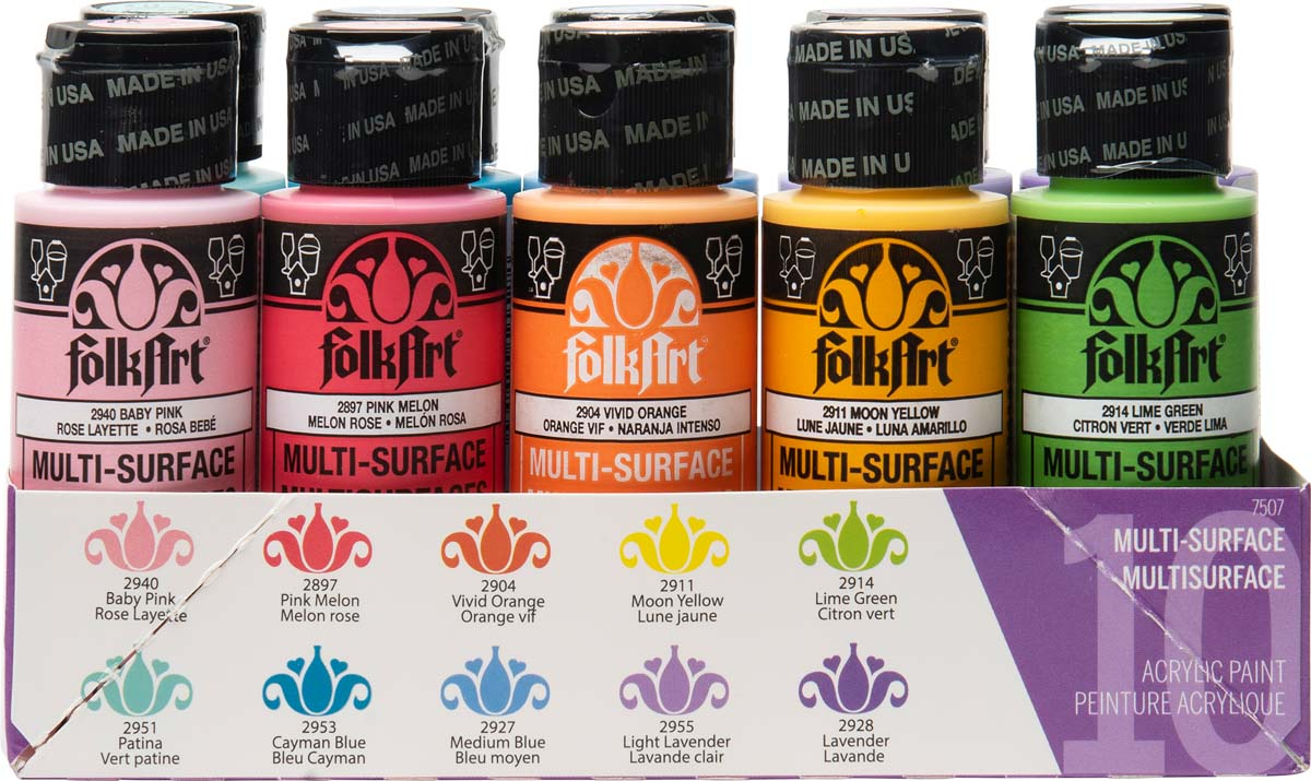 FolkArt ® Multi-Surface Satin Acrylic Paint 10 Color Set - Brights - 7507