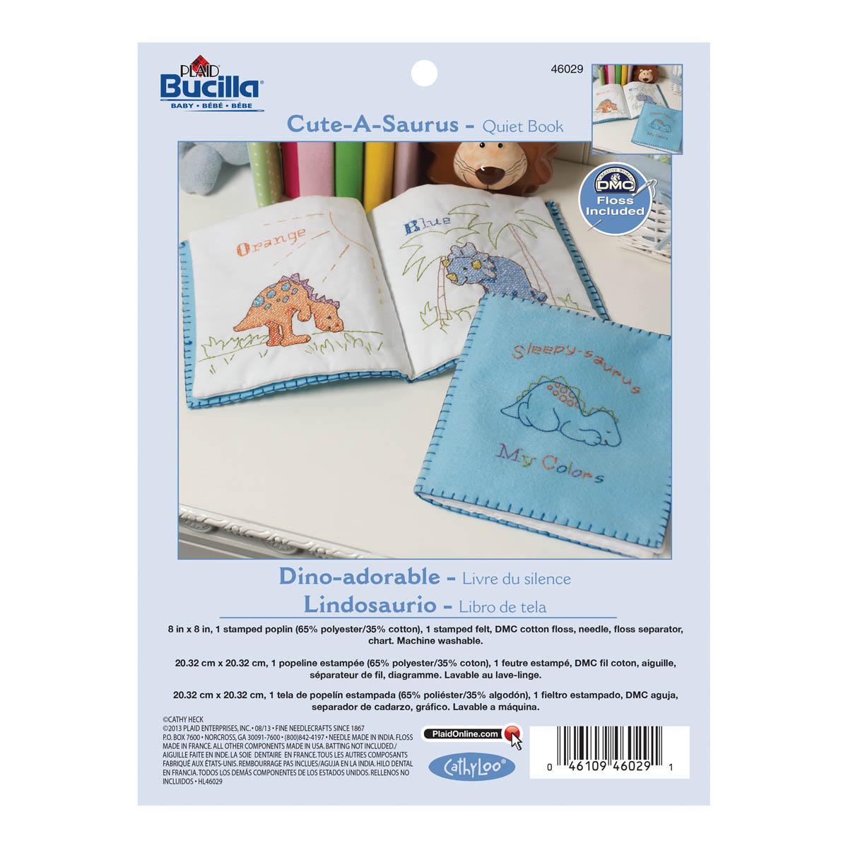 Bucilla ® Baby - Stamped Cross Stitch - Crib Ensembles - Cute-A-Saurus - Quiet Book - 46029