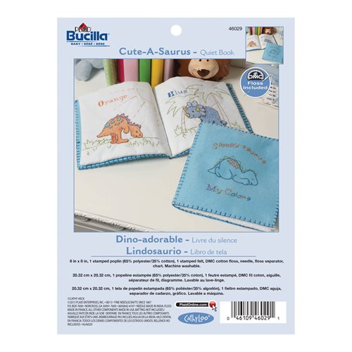 Bucilla ® Baby - Stamped Cross Stitch - Crib Ensembles - Cute-A-Saurus - Quiet Book