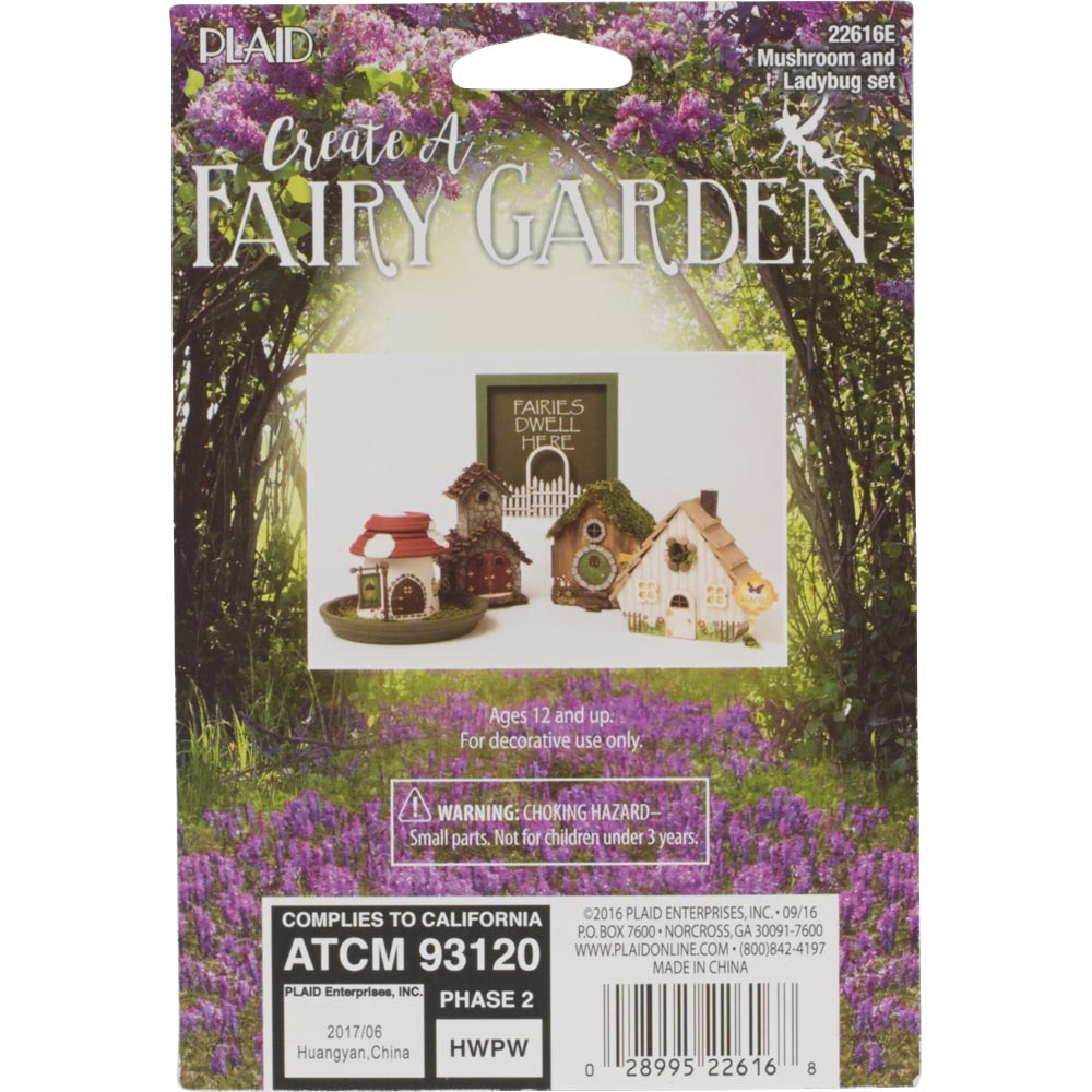 Plaid ® Wood Surfaces - Fairy Garden - Mushroom and Ladybugs 3 pc.