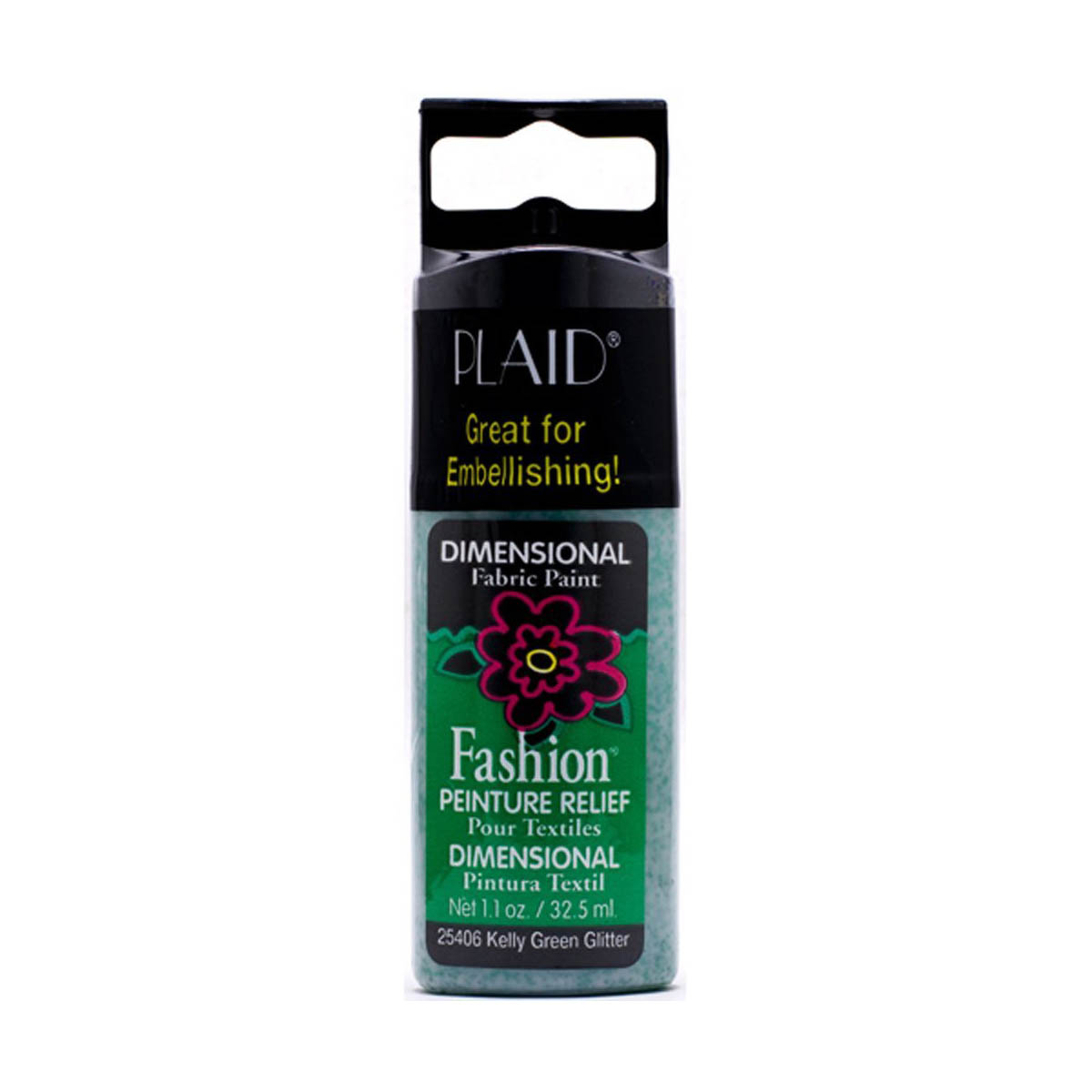 Fashion ® Dimensional Fabric Paint  - Glitter - Kelly Green - 25406