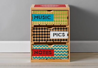 Handmade Charlotte Patterned Crate with Drawers