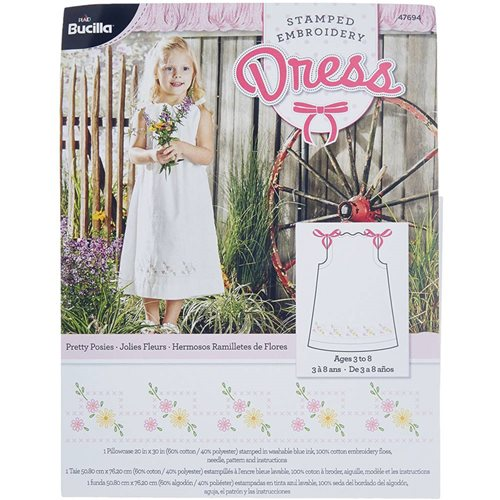 Bucilla ® Stamped Cross Stitch & Embroidery - Pillowcase Dress - Pretty Posies